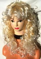 Paruka dlouhý kudrnáč peroxid blond s ofinkou 6
