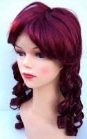 Paruka dlouhé vlasy tmavě červená s lokny (25)