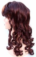 Paruka dlouhé vlasy tmavě červená s lokny (26)