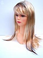 Paruka dlouhé vlasy blond s hnědým melírem (27)