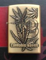 Benzinový zapalovač Cannabis leaves mince styl zippo