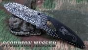 Škorion rychlootevírač nůž v imitaci damašku - speciání pojistka