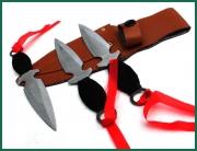Sada 3 vrhacích nožů v pouzdře na opasek