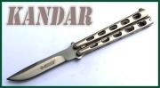 Nůž motýlek Kandar stříbrný extra silná ručka